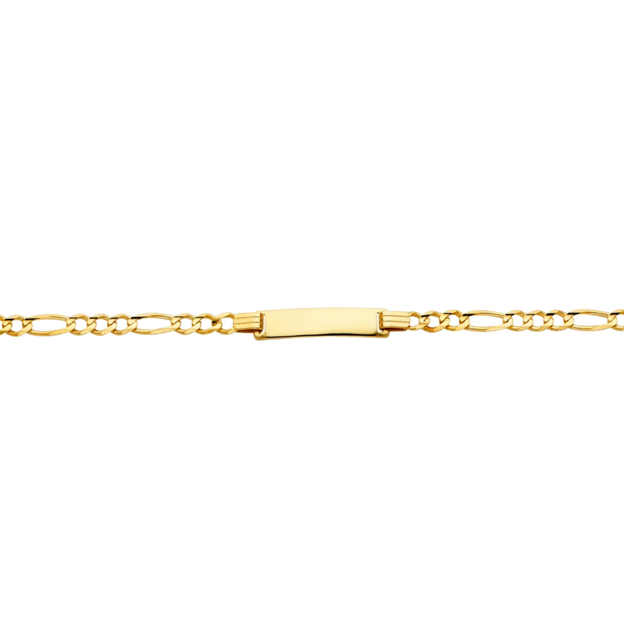 Name I.D Baby Figaro Bracelet - 14K Solid Yellow Gold