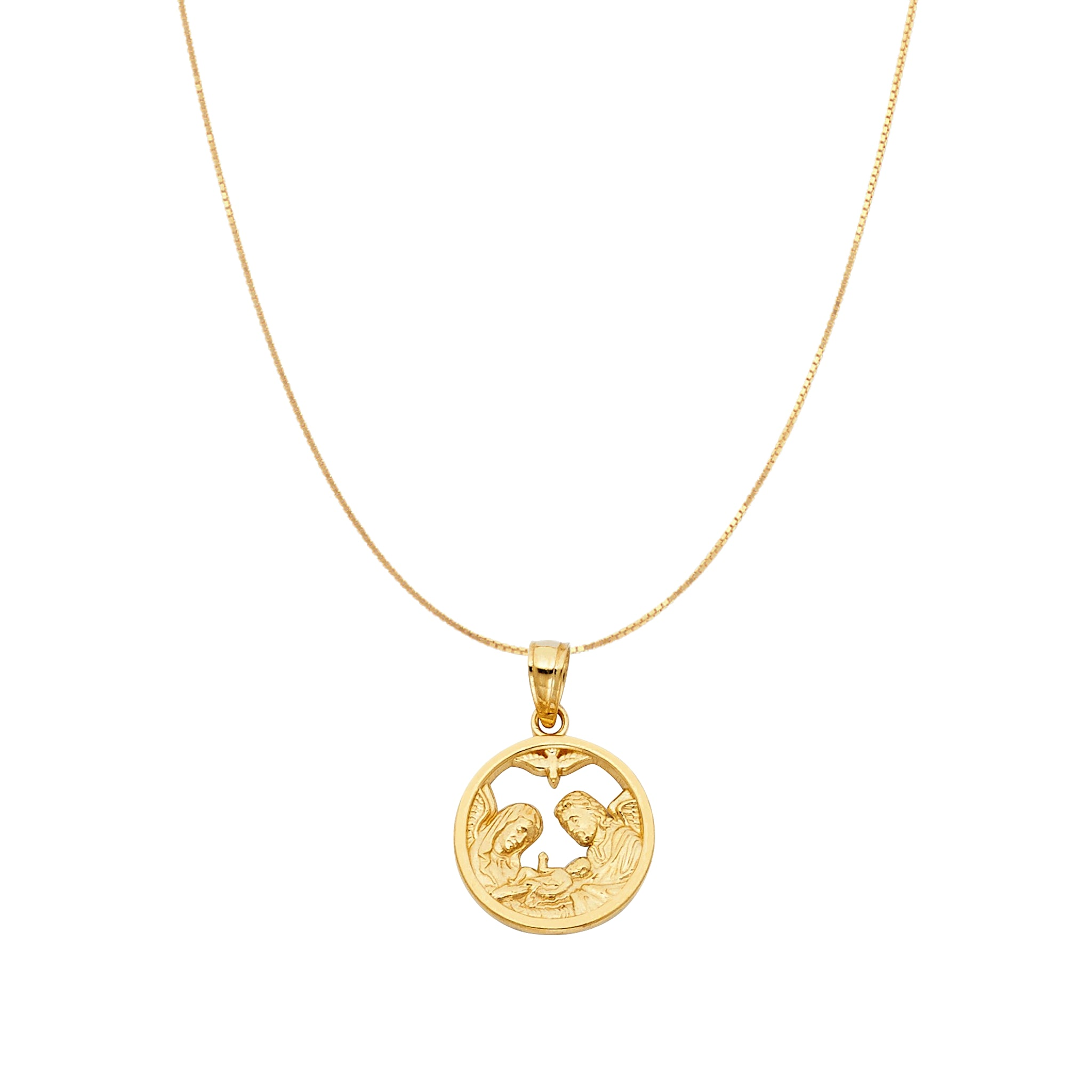 14K Gold Baptism Chain Necklace Pendant