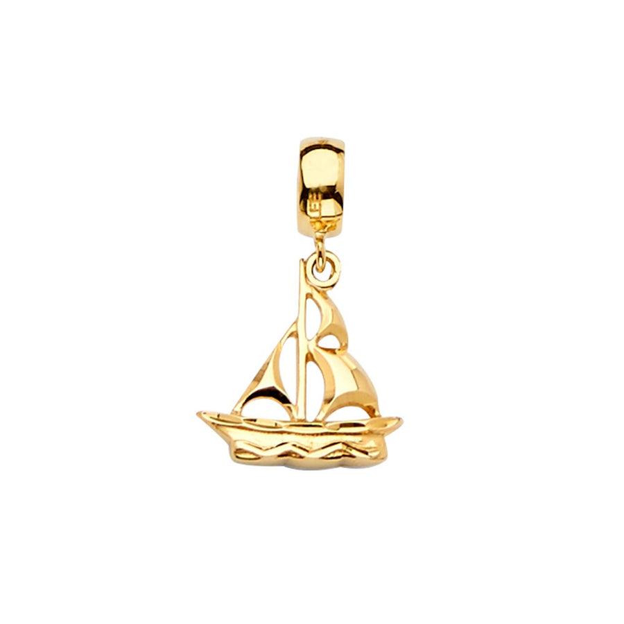 14K Solid Yellow Gold Sailboat Bracelet Charm Pendant