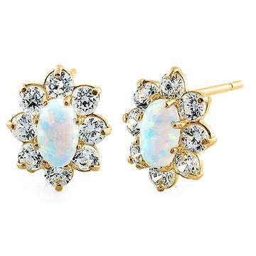 Opal Oval Earrings |14K Gold