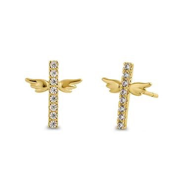 14K Solid Yellow Gold Cubic Zirconia Stones Angel Wings Earrings