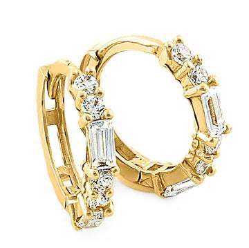 Maddy Yellow Gold Round Baguette CZ Hoop Earrings