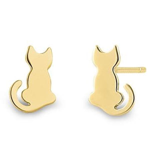 Kitty Silhouette Earrings | 14K Gold