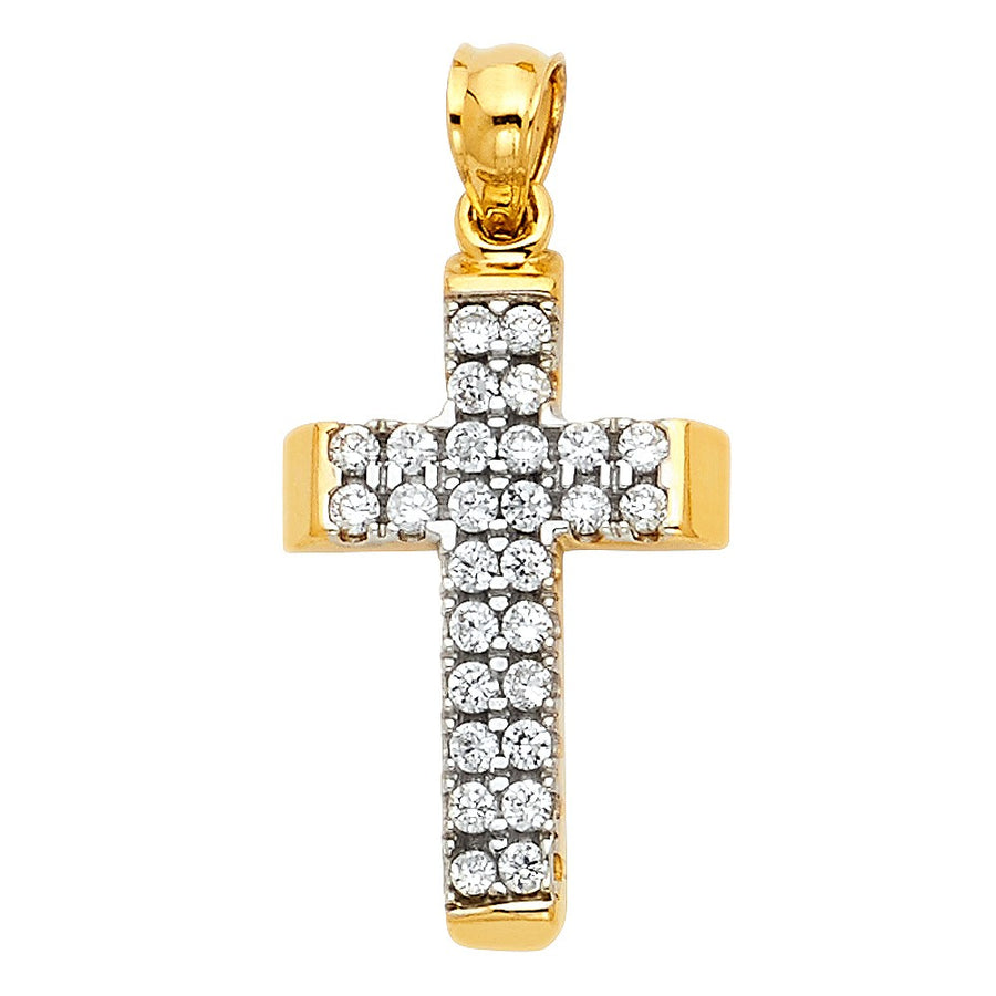 14K Solid Yellow Gold CZ Stone Cross Pendant Necklace