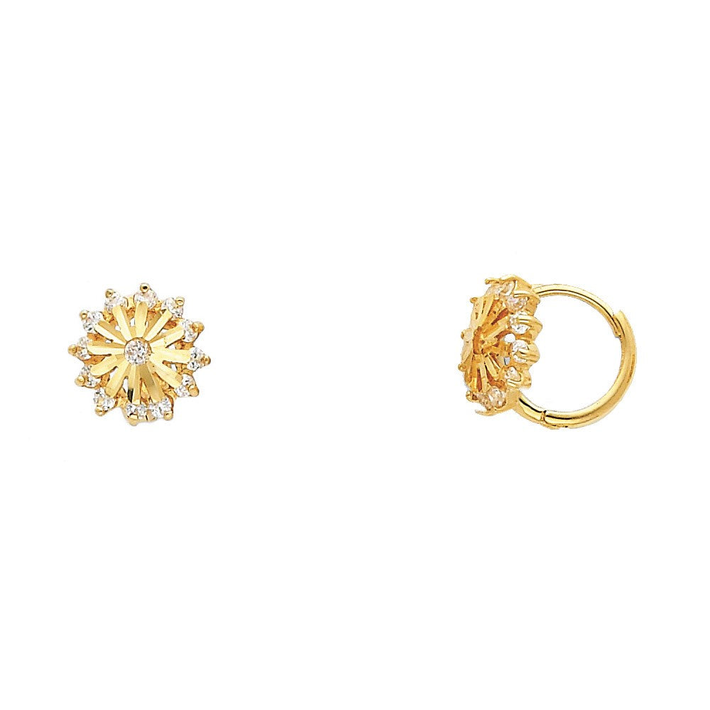 Cubic Zirconia Yellow Gold Starburst Snowflake Solid 14K Huggie Earrings