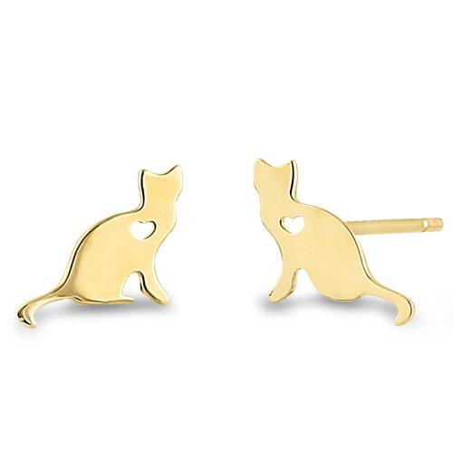 Kitty Heart Earrings | 14K Gold