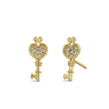 Heart Key Earrings | 14K Gold