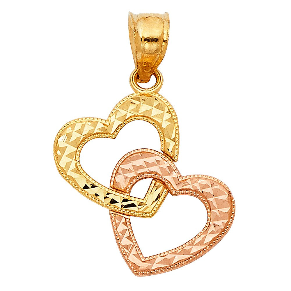 Hanging Double Two Tone Hearts Pendant 14K Gold