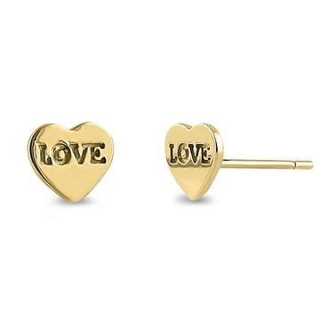 Stamped Love Heart Stud Earrings | 14K Gold