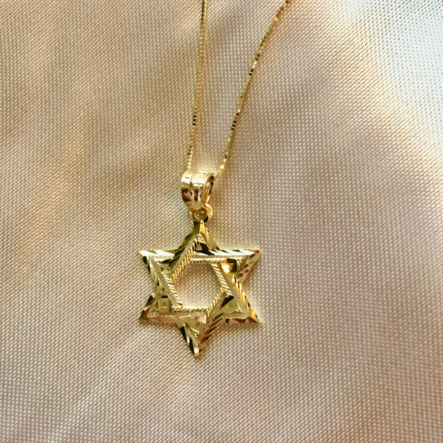 14K Yellow Gold Star Of David Charm Pendant
