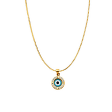 Load image into Gallery viewer, Evil Eye Necklace 14k Gold Pendant