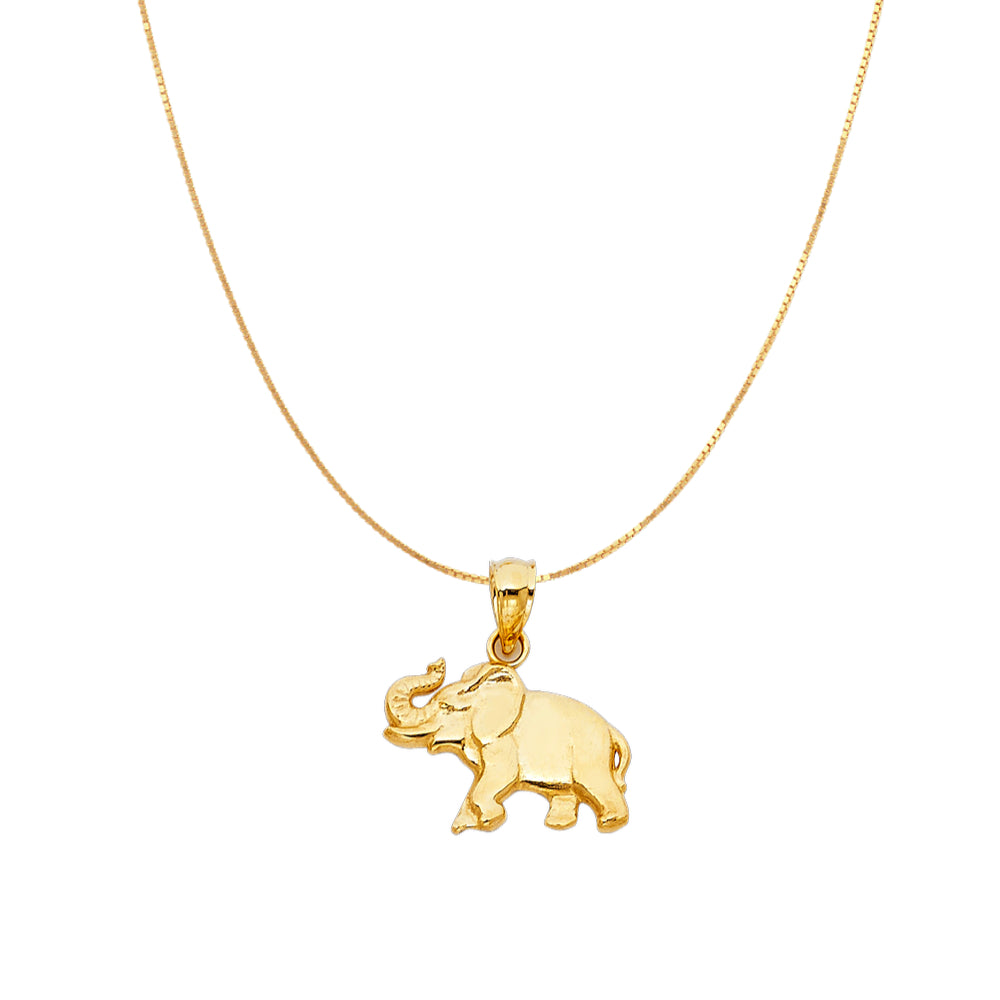 Elephant Pendant - 14K Solid Yellow Gold