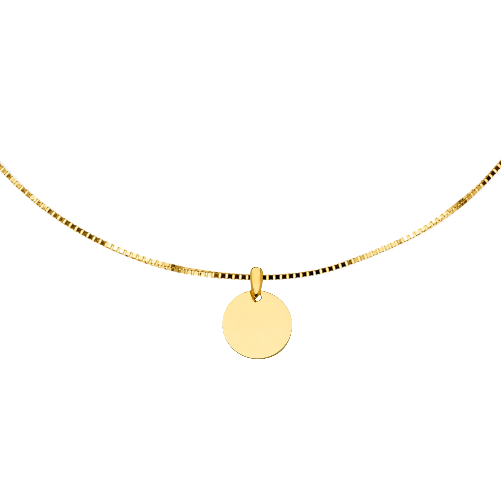 Engravable Round Medal Choker - 14K Solid Yellow Gold