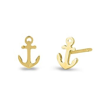 Half Moon Bay Anchor Earrings | 14K Gold