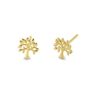 Oak Tree Earrings | 14K Gold