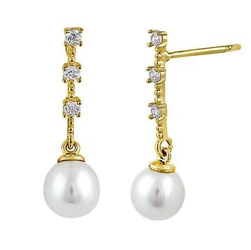 Freshwater Pearl CZ Dangle Earrings - 14K Gold