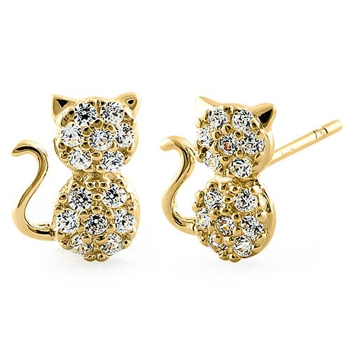 Kitty CZ Stone Earrings | 14K Gold