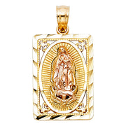 14K Two Tone Solid Gold Framed Guadalupe Virgin Mary Pendant Necklace