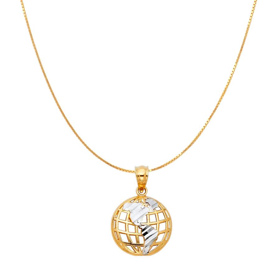 Gold World Globe Pendant Necklace made of real gold