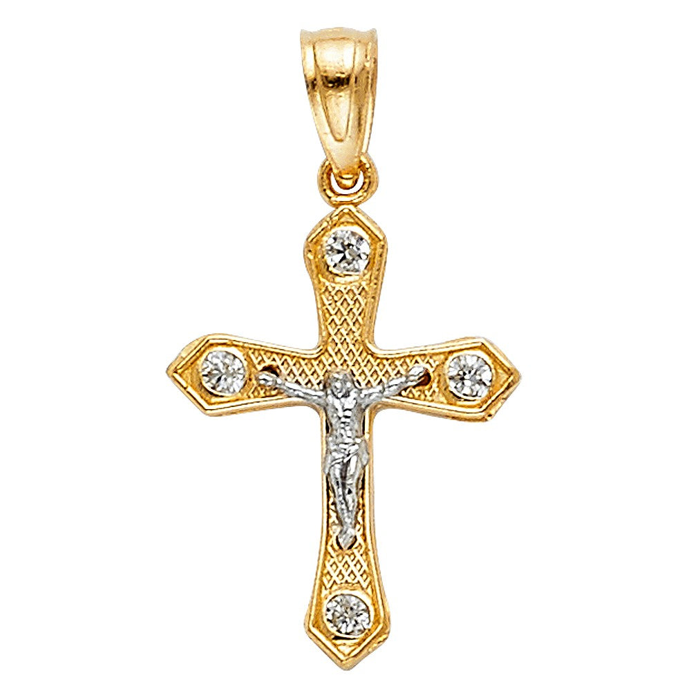 14K Two Tone Solid Gold Crucifix Cross Jesus Pendant Necklace