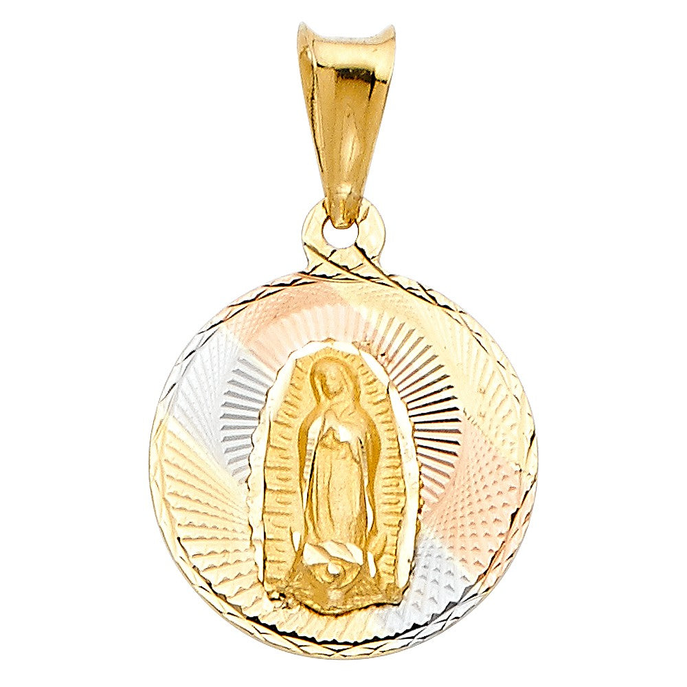 Virgin Mary Medal - 14K Solid Yellow Gold