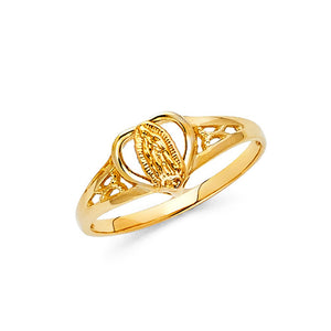 14K Solid Yellow Gold Religious Guadalupe Virgin Mary Heart Ring