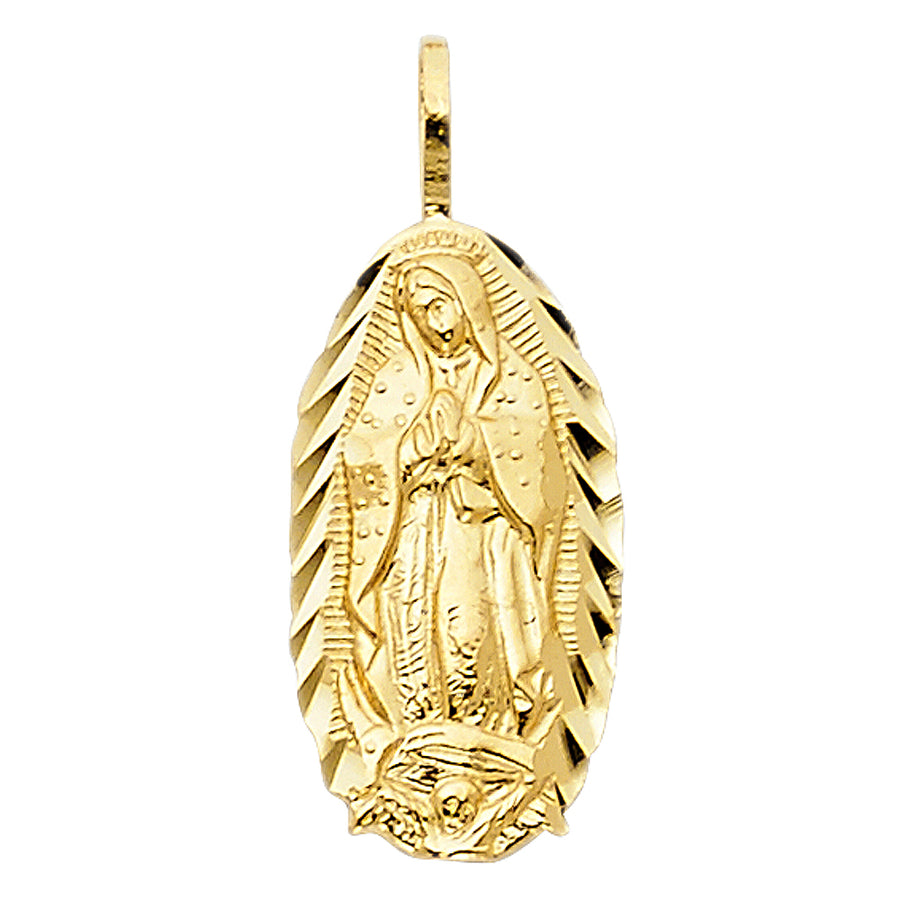 14K Solid Yellow Gold Virgin Mary Pendant Chain Necklace