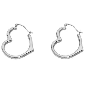 14K White Gold Heart Hoop Dangle Earrings