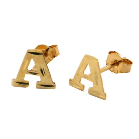 Initial Stud Earrings - 14K Solid Yellow Gold