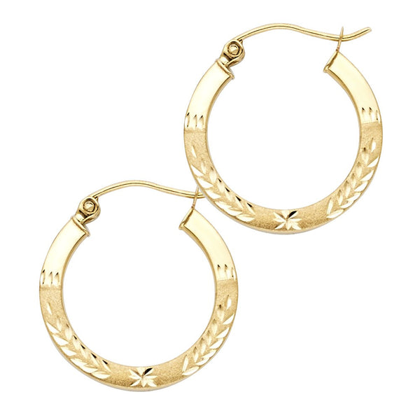 Laurel Leaf Greek Hoop 14K Yellow Gold Hoop Earrings