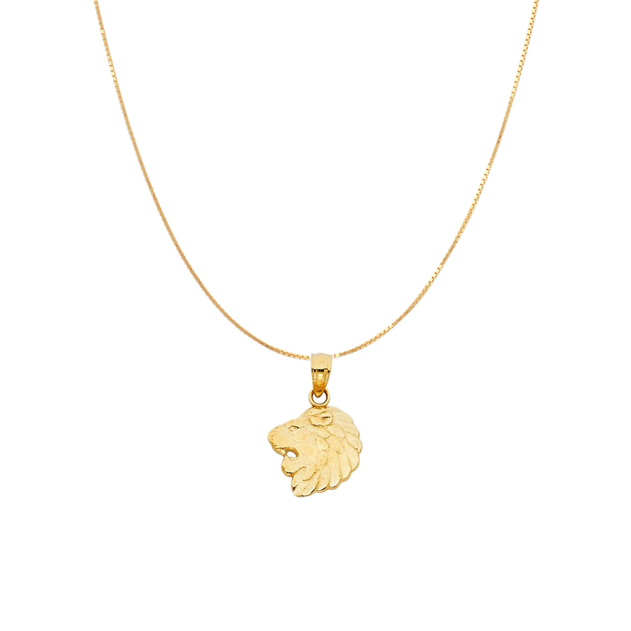 Lion Head Pendant - 14K Solid Yellow Gold