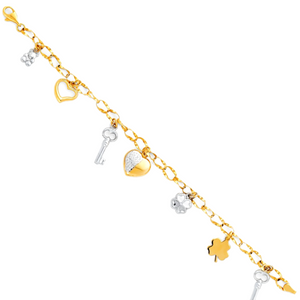 Love & Luck Charm Bracelet - 14K Solid Gold