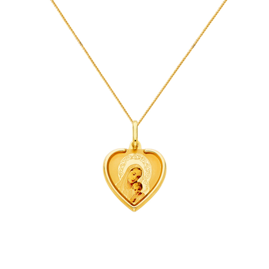 Madonna and Child Heart Pendant - 14K Gold Pendant