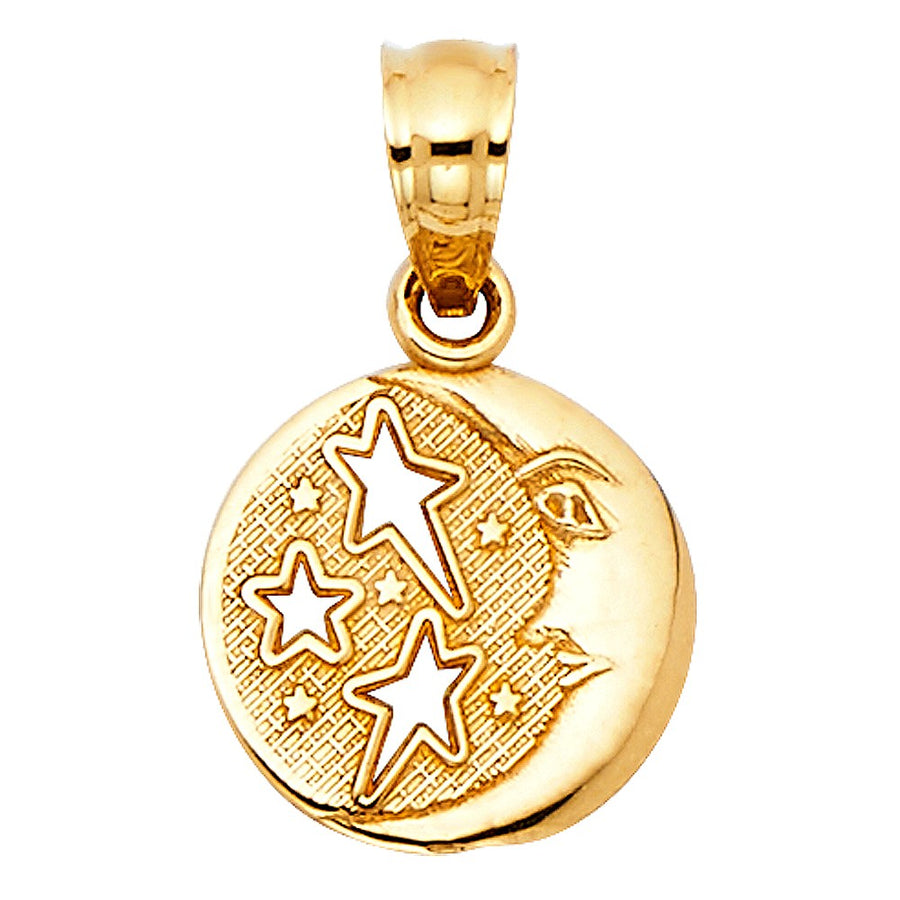 Moon and Stars Medal Pendant - 14K Solid Yellow Gold