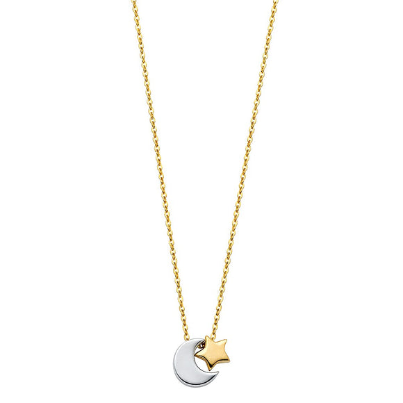 14K Two Tone Solid Gold Star and Moon Necklace