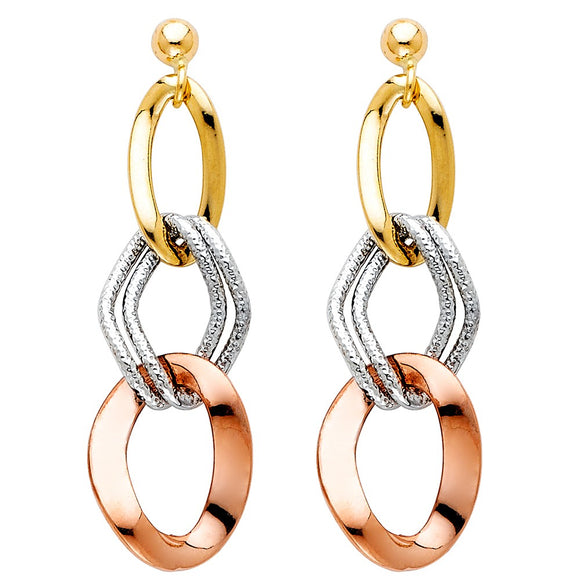Multi Tone Open Link Dangle Hanging 14K Gold Earrings