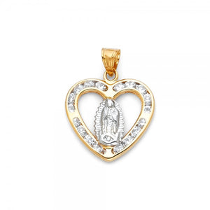 14K Solid Yellow Gold Lady of Guadalupe Necklace Charm