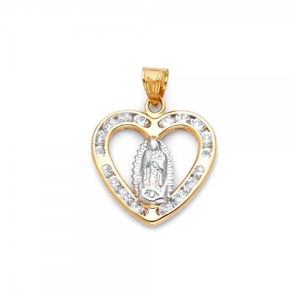 14K Solid Yellow Gold CZ Stone Lady of Guadalupe Necklace Charm