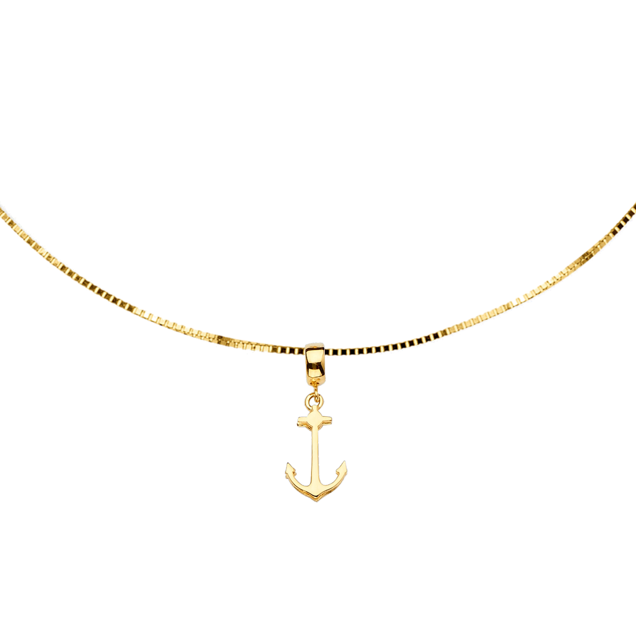 Pier 39 Anchor Choker - 14K Solid Yellow Gold