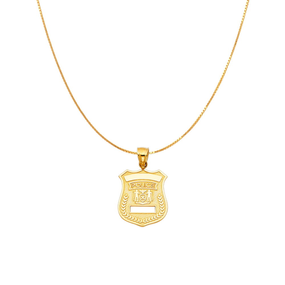 Gold Cop Badge Pendant Necklace