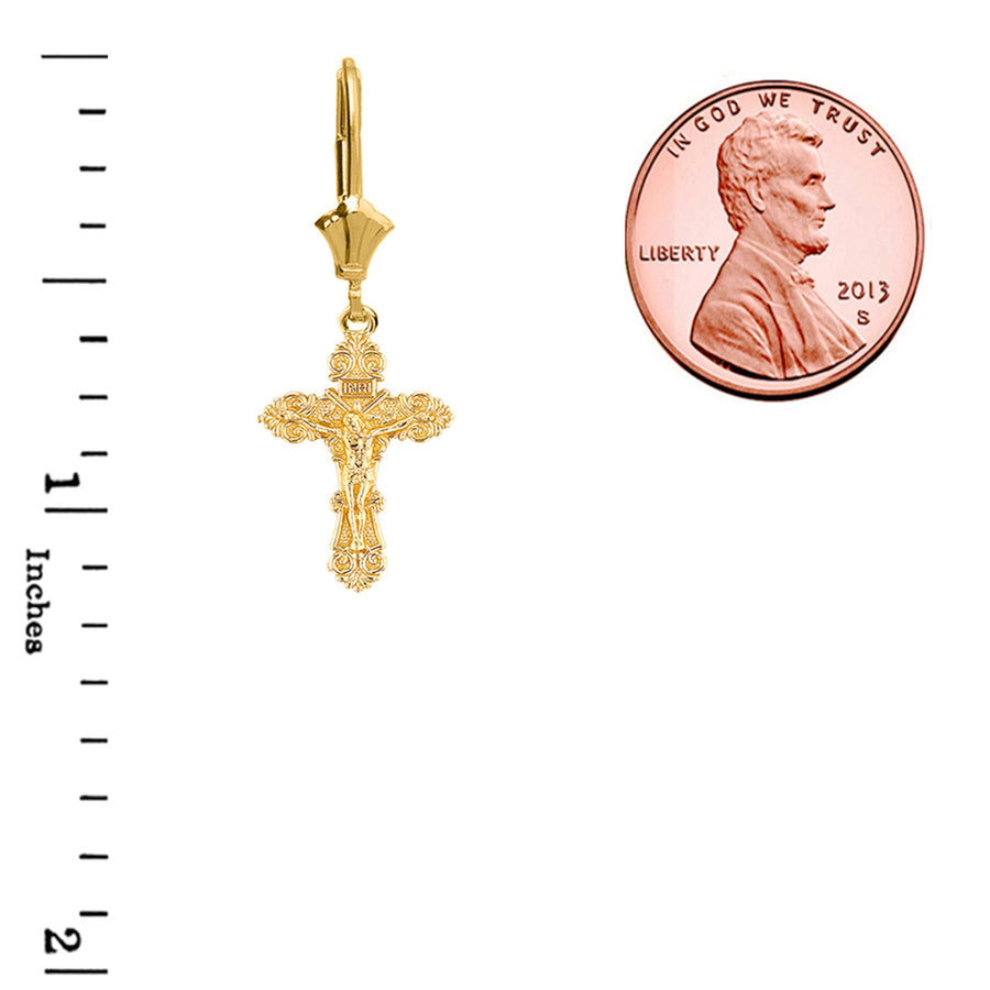 Saint City Crucifix Earrings- 14K Solid Yellow Gold