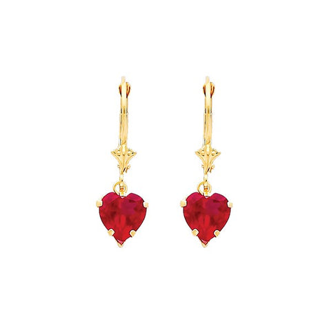 Heart Dangle Pendant Earrings - 14K Solid Yellow Gold