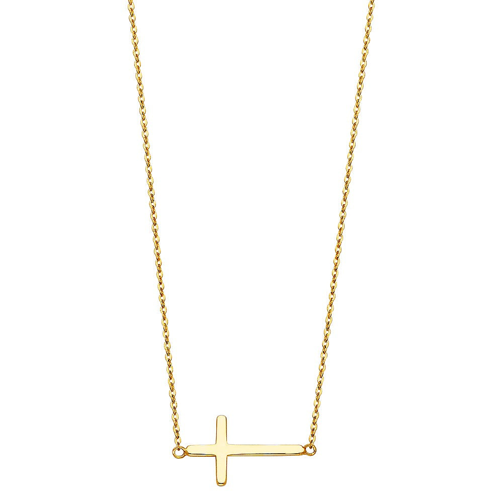 14K Solid Yellow Gold Religious Side Cross Necklace