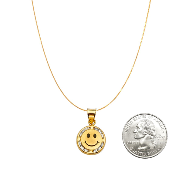 14K Gold Happy Face Necklace