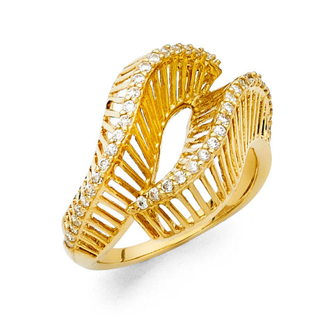 14K Gold Spiral CZ Ring Ladies Ring