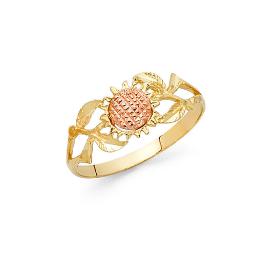 14K Two Tone Solid Gold Sunflower Ring