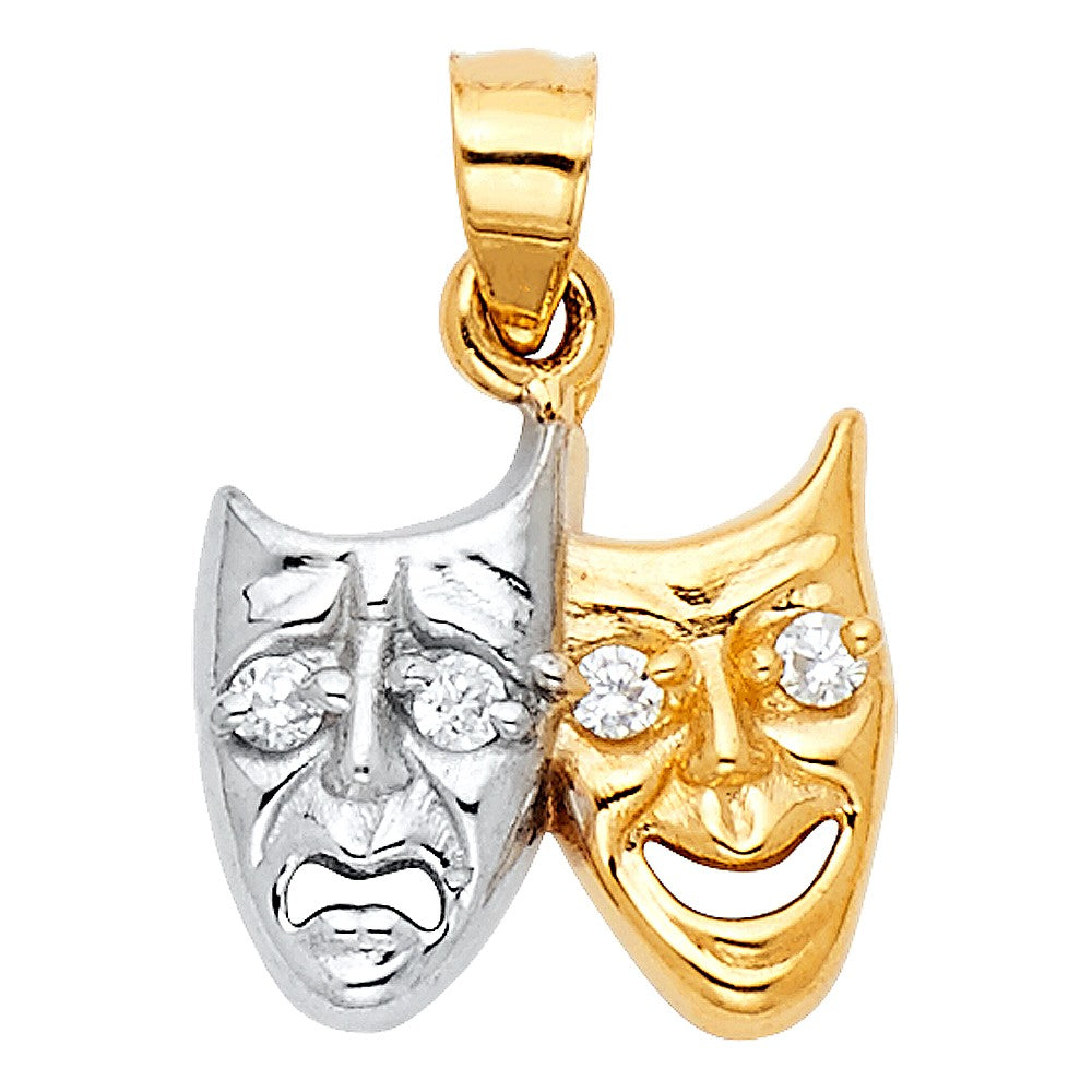 Comedy Tragedy Theater Mask Pendant 14k Gold