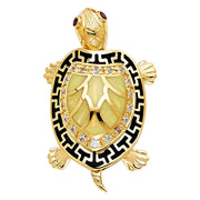 Turtle Pendant crafted from solid 14k yellow gold with chain included