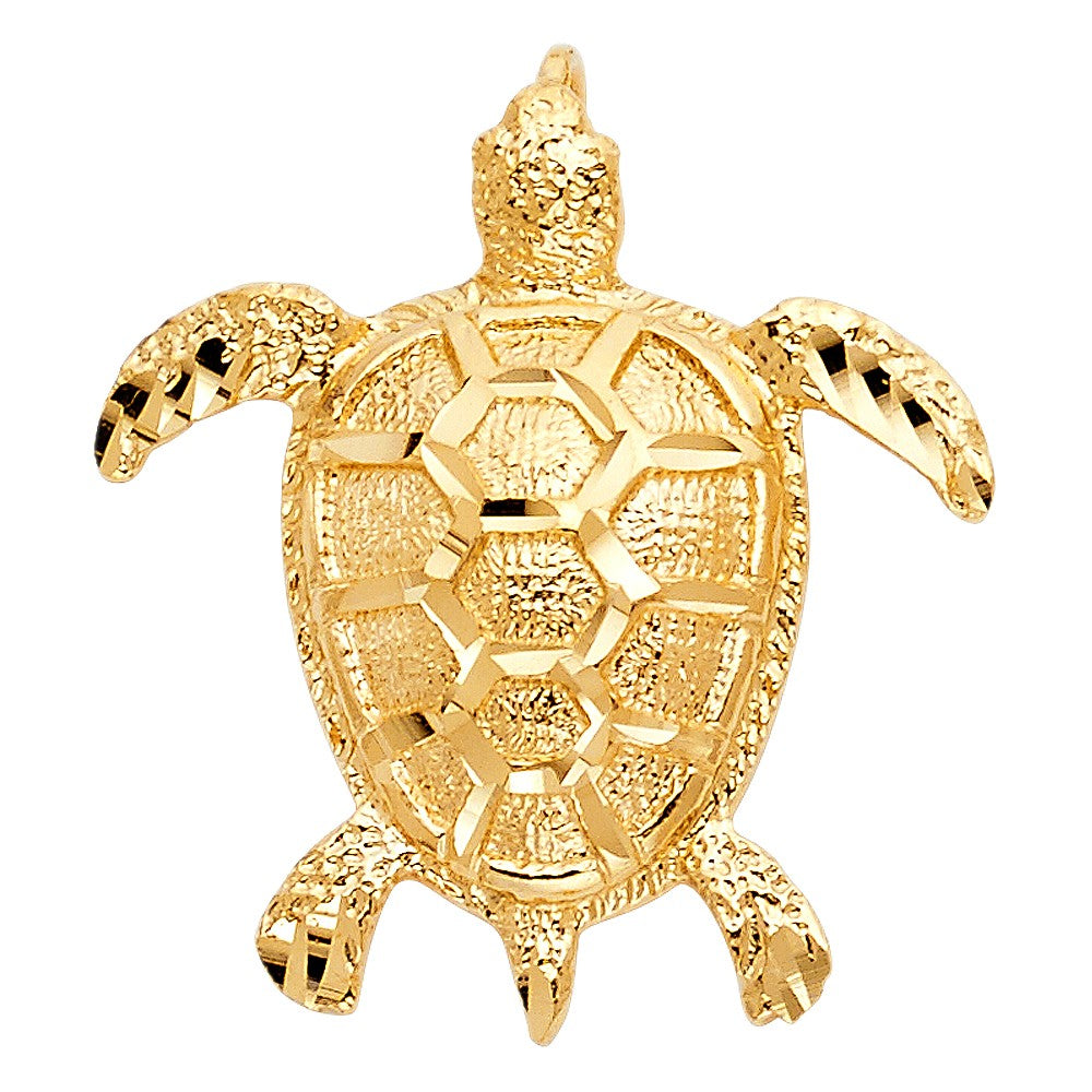 Solid 14K yellow gold turtle charm pendant