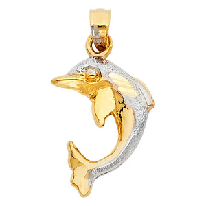 Two Tone 14K Yellow Gold Ocean Porpoise Dolphin
